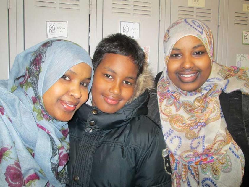 Habiba, Abdullahi, and Asha Ali at MAC Canadian Family Day in February.