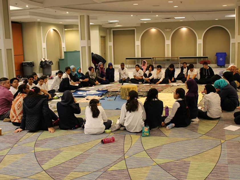 Students at Maingate Islamic Academy in Mississauga participated in a workshop called The Blanket Exercise, which explores the impact of colonialism on the indigenous peoples of Canada.