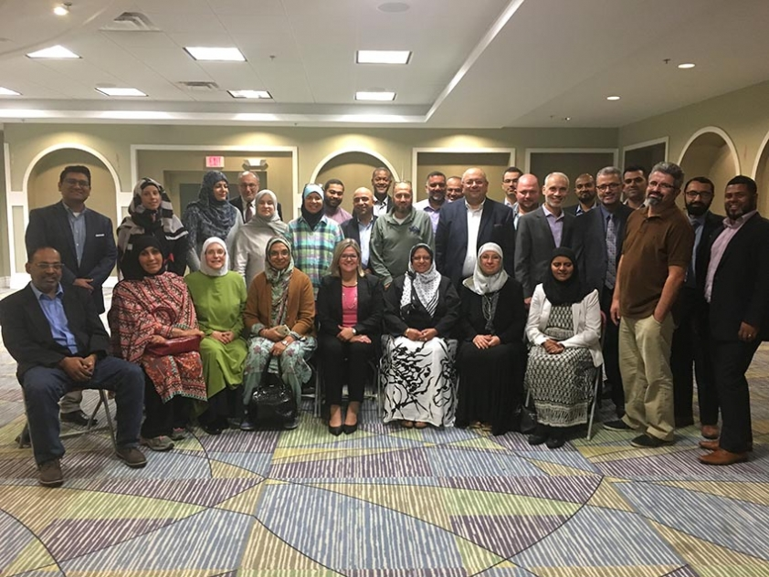 MPP Andrea Horwath with members of the Muslim community at the Anatolia Islamic Centre in Mississauga.