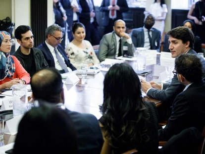 Prime Minister Justin Trudeau meets with leaders from national Muslim organizations in Ottawa on June 19.