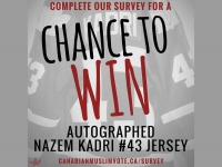 Just by filling out the survey, you will be entered in a draw to win an autographed Nazem Kadri jersey!