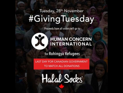 #GivingTuesday Buy Halal Socks Today and Donations Go To Human Concern International's Rohingya Refugee Appeal