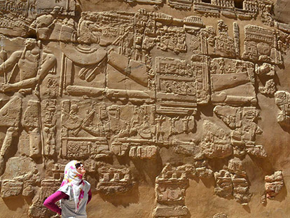 Iraqi-Canadian Batoul Hussain admires Ancient Egyptian art in the Aswan region.
