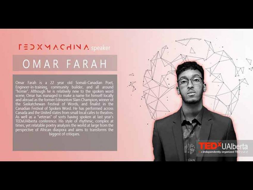 In 2019, Omar Farah was a speaker at TEDxUAlberta in Edmonton, Alberta.
