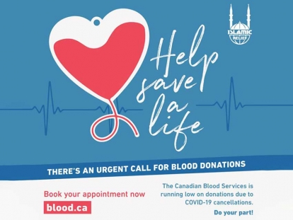 Islamic Relief Canada Launches Campaign Urging Canadian Muslims to Donate Blood During the COVID-19 Crisis