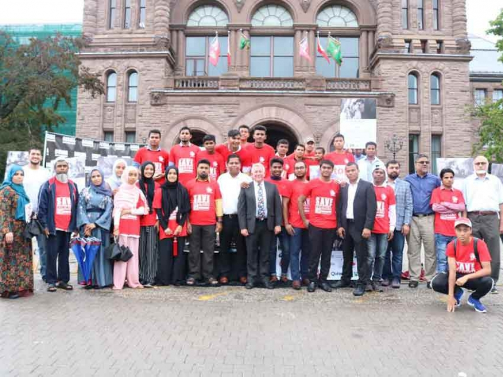 Members of Canada's Rohingya diaspora at Rohingya Genocide Remembrance Day on August 25, 2018 at Queen's Park in Toronto, Ontario.