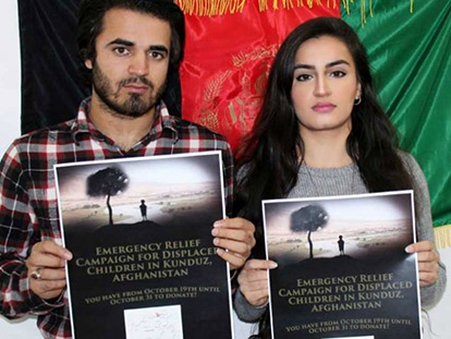 Ajmal Sarfraz and Sawila Bayat of the Afghan Students Association are fundraising for emergency relief in Kunduz.
