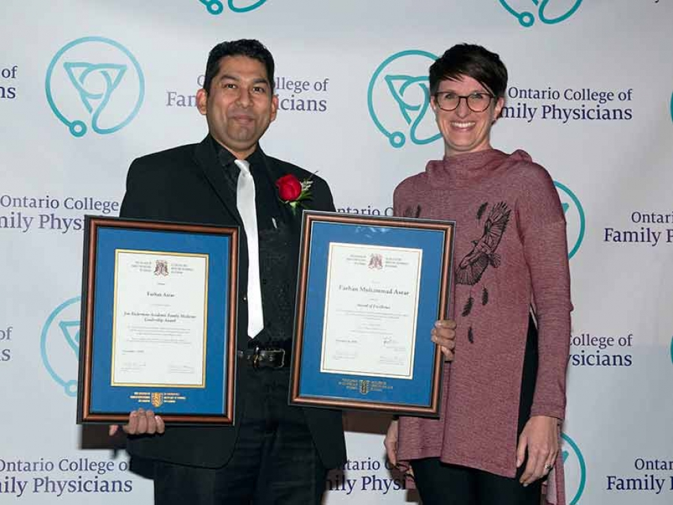 OCFP Awards Committee Chair Dr. Amy Catania, right, presented Mississauga's Dr. Farhan M. Asrar, left, with the Award of Excellence and the Jim Ruderman Academic Family Medicine Leadership Award at the 2019 OCFP Awards Ceremony in Toronto on November 28