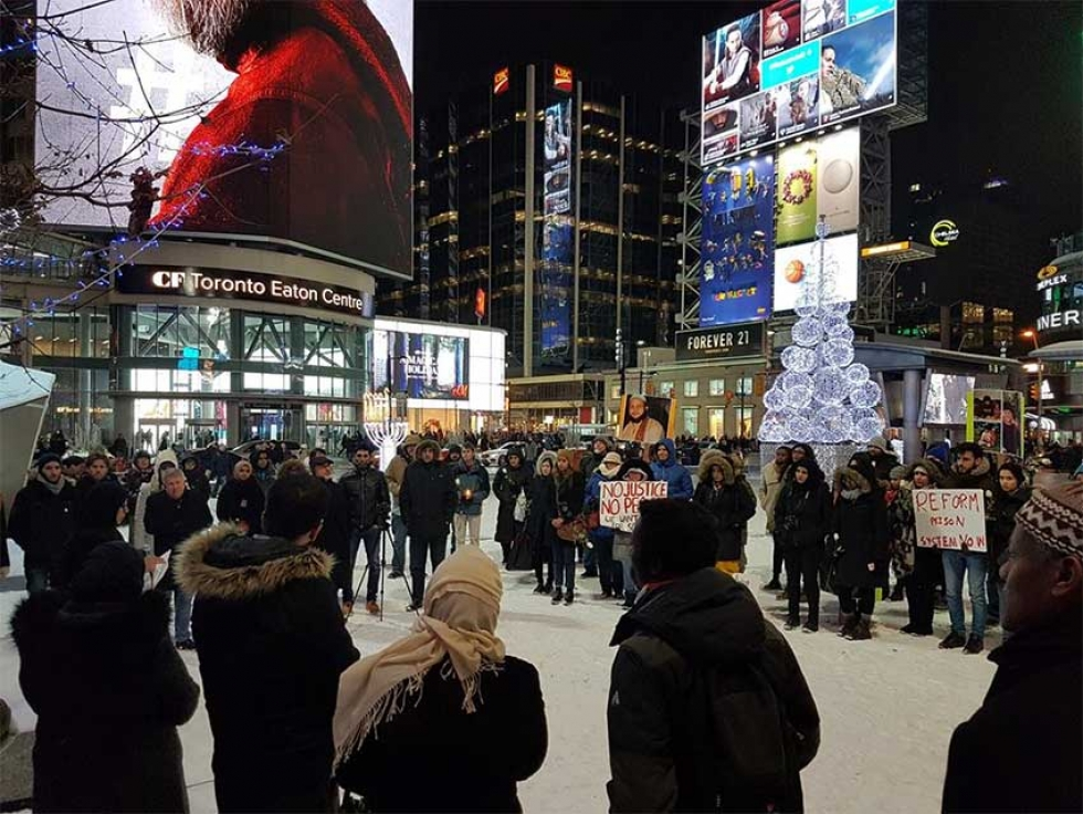 On December 15th 2017, friends and supporters held a vigil at Dundas Square to mark the one year anniversary of Soleiman Faqiri's death.