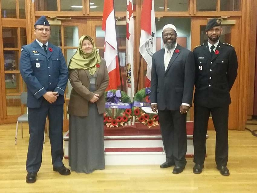Muslims Remember Remembrance Day Service: Canadian Armed Forces Muslim Chaplains Jalal Khaldoune, Barbara Helms, Ryan Carter, along with Imam Abdurrashid Taylor.