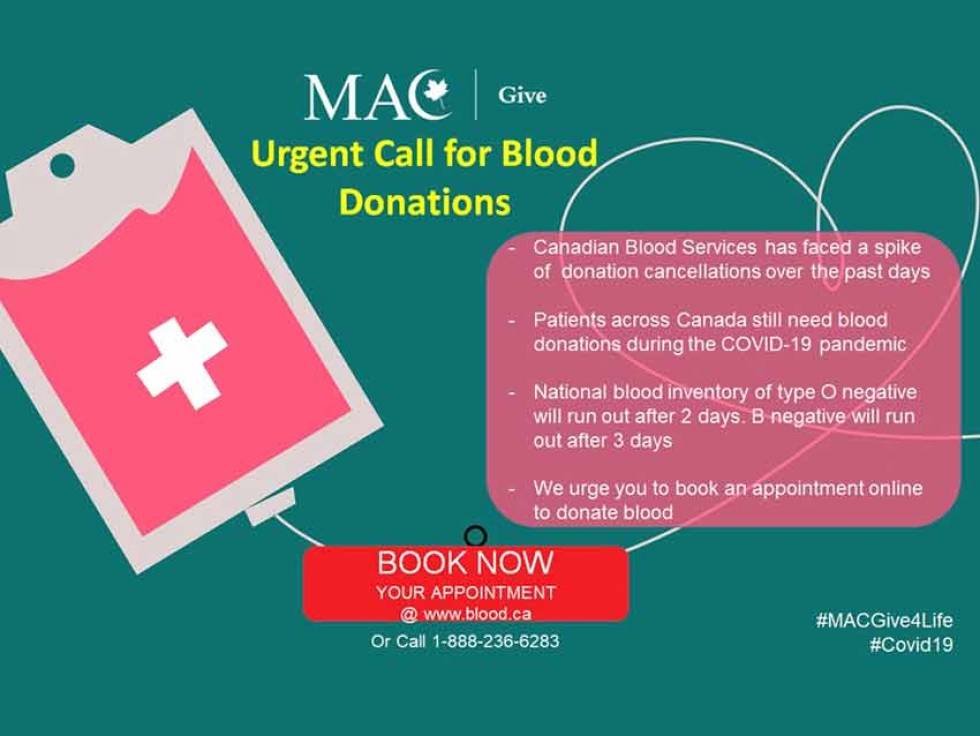 Muslim Association of Canada (MAC) Urging Canadian Muslims to Donate Blood During the COVID-19 Crisis
