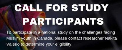 Muslim Youth in Ottawa Needed for Research Study on Challenges Faced by Muslim Youth in Canada
