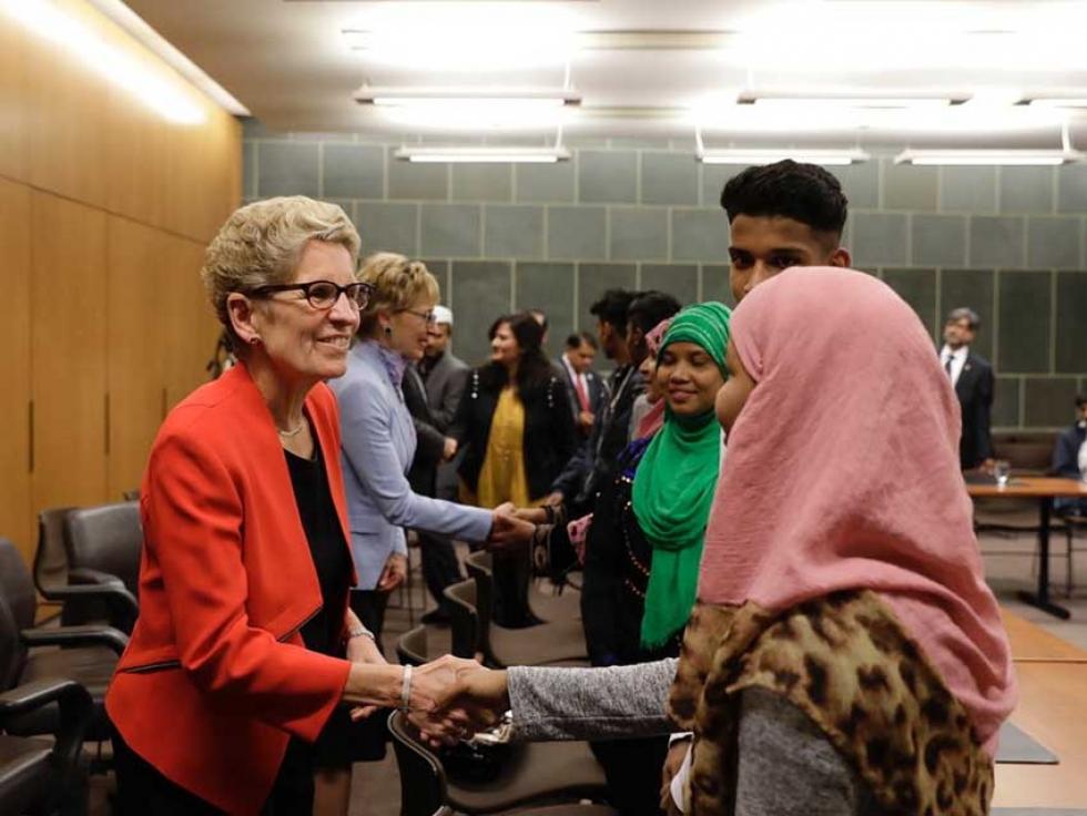 Ontario Premier Kathleen Wynne met with members of the Rohingya community living in Kitchener-Waterloo in October.