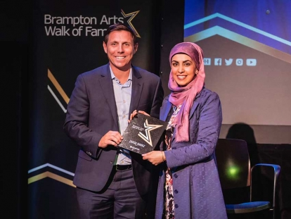 Zarqa Nawaz with Patrick Brown, the Mayor of Brampton, at her induction into the Brampton Arts Walk of Fame on March, 22, 2019.