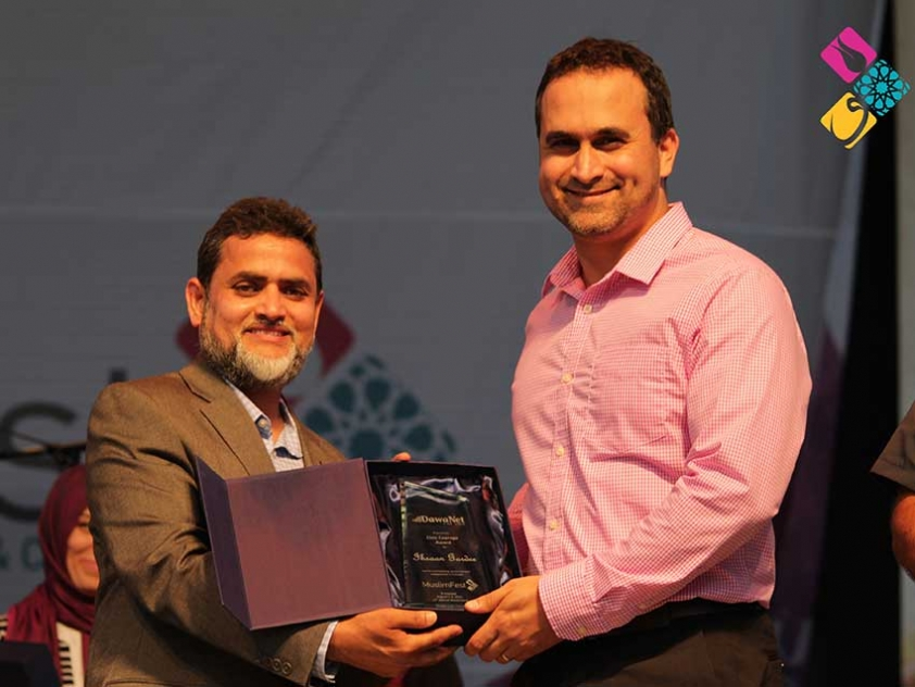 Ihsaan Gardee receiving the Civic Courage Award at Mississauga's MuslimFest in August  2015.