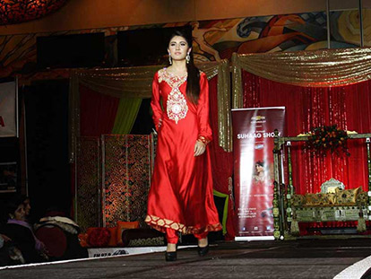 Maria Abbas models an outfit by Pehnawa Couture, an Ottawa-based clothing business.