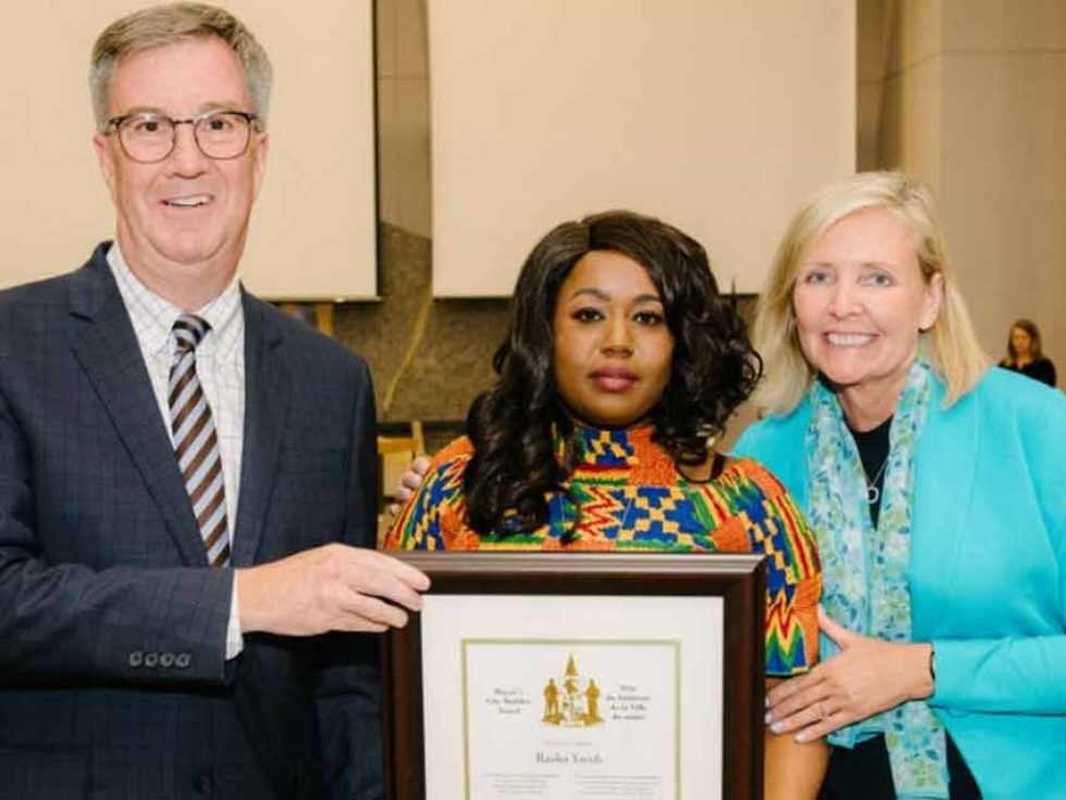 Mayor Jim Watson and Gloucester-Southgate Ward Councillor Diane Deans presented the Mayor's City Builder Award to Rasha Yacob at Ottawa City Council on July 10, 2019.