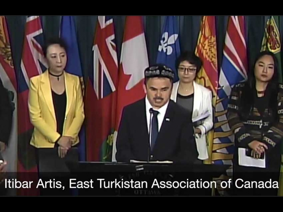 Uyghur Canadian Itibar Artis, a member of the East Turkistan Association of Canada, spoke at a Parliament Press Conference on December 10th.