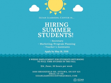 Izzah Learning Center for Women is hiring students for the summer. The deadline to apply is May 18.