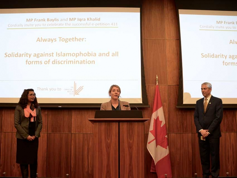 Minister of Heritage Melanie Joly spoke on December 5 at an event hosted by MP Frank Baylis and MP Iqra Khalid.