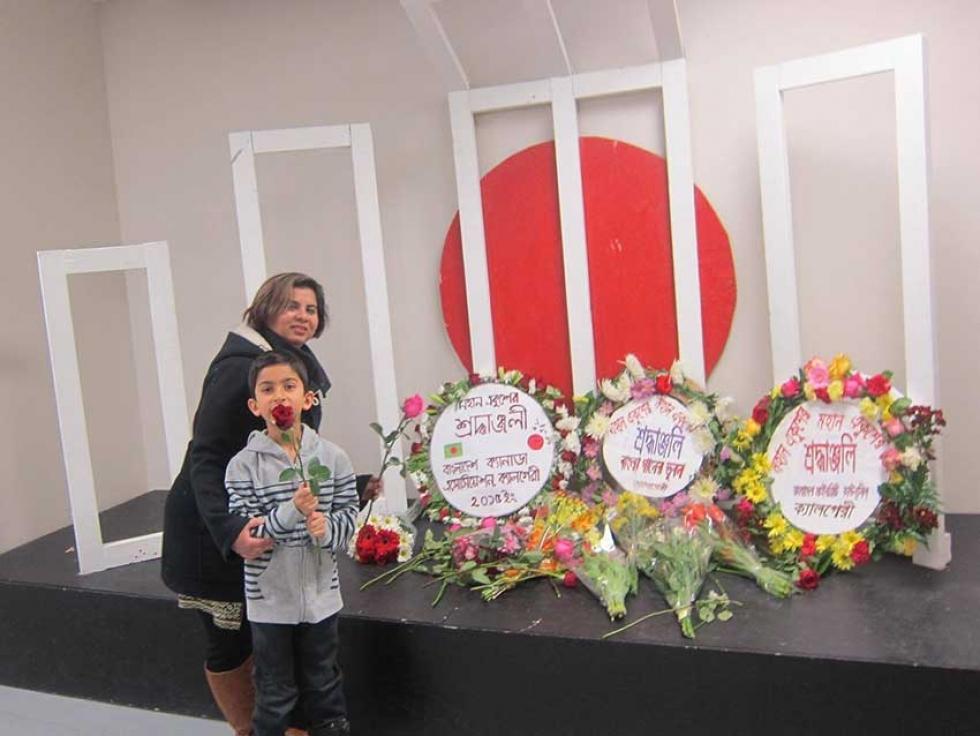 Saima Jamal with her son at the Bangladesh Centre in Calgary celebrating Ekushey February.