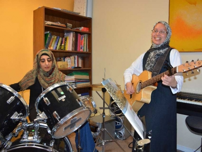 Shalini and Audrey rehearsing for the upcoming Songs of Muslim Women concert on March 18