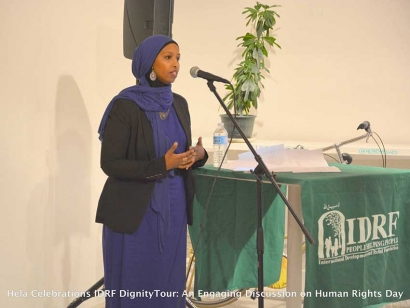 Farhia Ahmed, co-chair of the Justice for Abdirahman Coalition, speaking at the IDRF Dignity Tour in Ottawa.