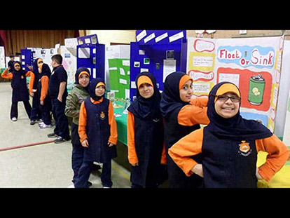 Ahlul Bayt students sporting their school uniforms at their Science Fair