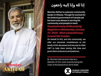 Remembering Brother Mumtaz Akhtar: Ottawa-Based Muslim Canadian Community Organizer
