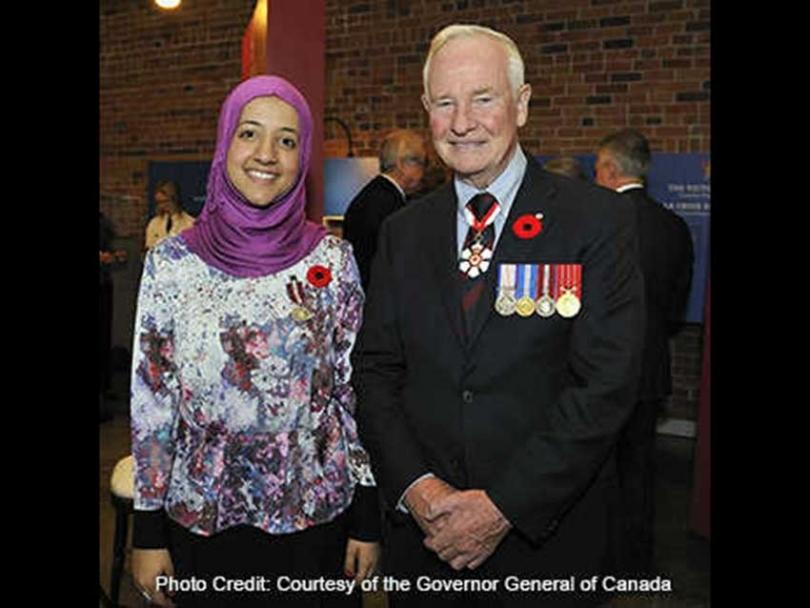 Rasha Al-Katta with the Governor General of Canada David Johnston