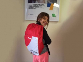 Student Jenna Abu-Jarad sports her Eye Level backpack.