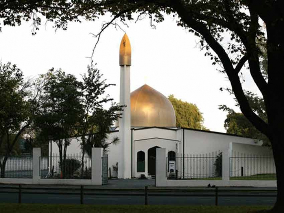 The scene of the mass shooting, Masjid Al Noor mosque on Deans Avenue, in Christchurch.