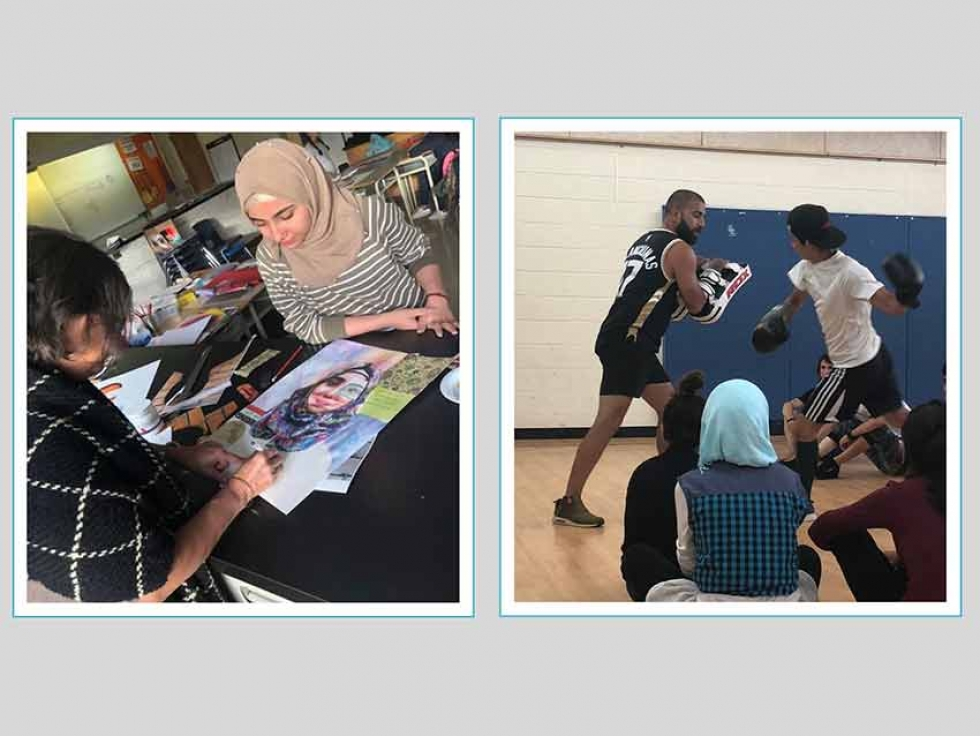 Refugee youth participate in programs at Human Endeavour, a non-profit organization dedicated to inclusion of marginalized communities in Vaughan, in the Greater Toronto Area. Left: Rina Singh conducts a self-portrait workshop through art and poetry. Right: Maulik Chaudhari leads muai thai/kickboxing sessions.