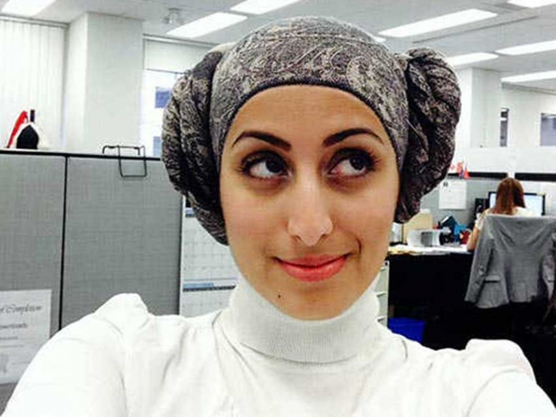 Nagat Bahumaid sporting a 'Princess Leia' hijab.