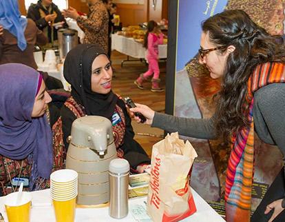 Muslim Link's Palvashah Durrani interviews members of the Palestinian Students' Association at the Arabian Canadian Bazaar