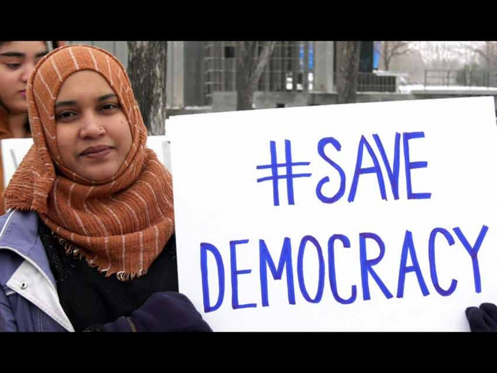 A demonstrator at a protest against the Indian Citizenship Amendment Act that took place in Winnipeg, Manitoba in January