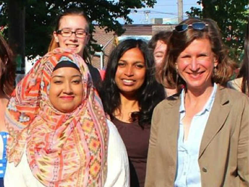 Samiha Rayeda and NDP Provincial candidate Jennifer McKenzie along with other campaign volunteers