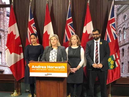 Leader of the Official Opposition Andrea Horwath and representatives from organizations opposed to Quebec's Bill 21.