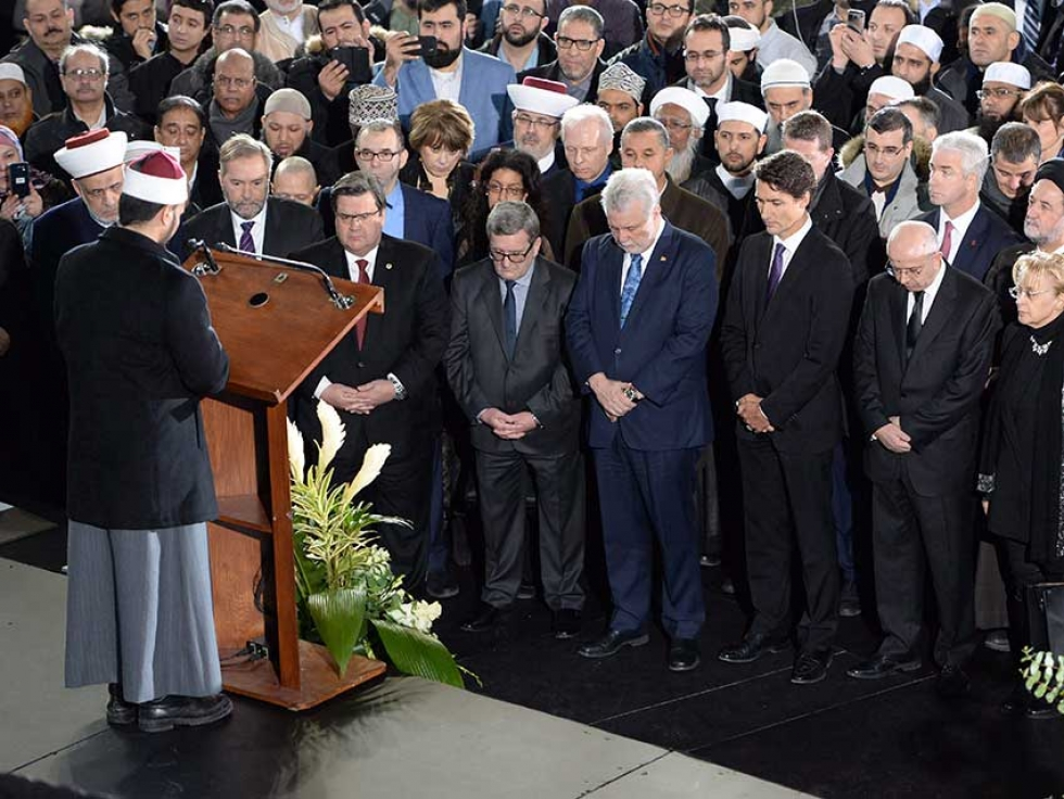 Political dignitaries attend the funeral for three of the six victims of the Quebec City mosque shooting in Montreal in February 2017.