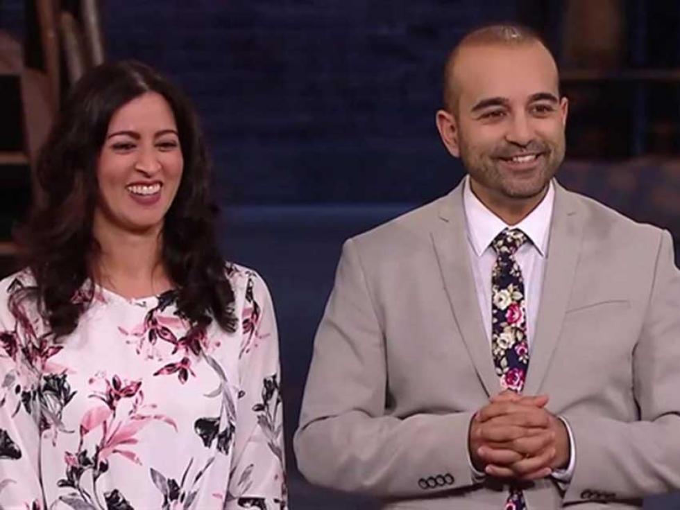 Wife and Husband Farah Katchi and Umar Dar of the Canadian nail polish brand Tuesday in Love on CBC's Dragon's Den.