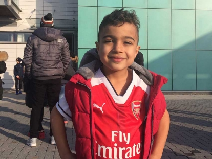 Malik Higazy at Arsenal Academy in England. Malik and his family are setting up a soccer academy in Ottawa with premier league players and coaches.