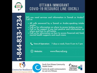 Ottawa Immigrant COVID-19 Resource Line Launched to Support Somali and Arabic Speaking Communities