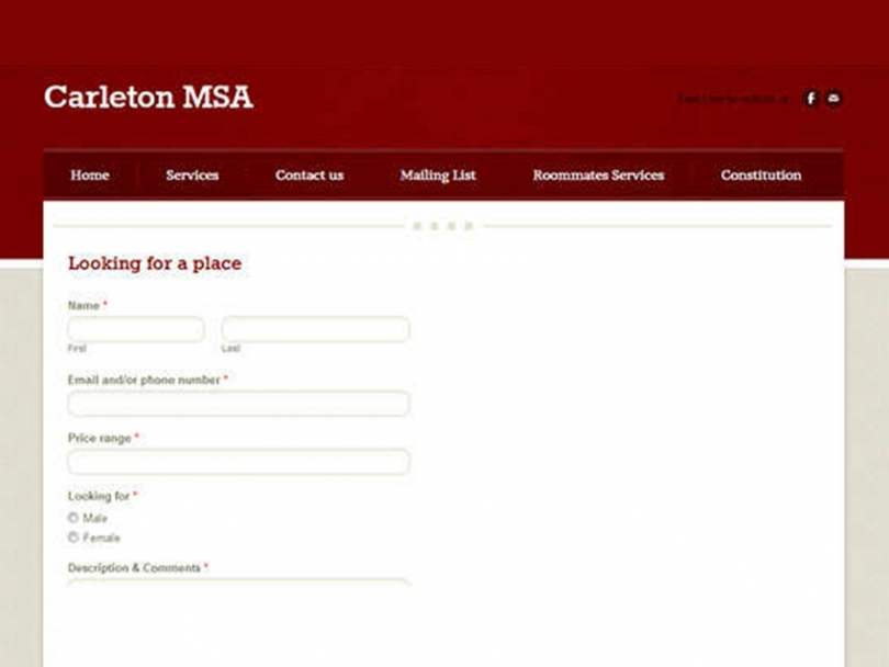 Screenshot from the Carleton MSA's Roommates Service Website