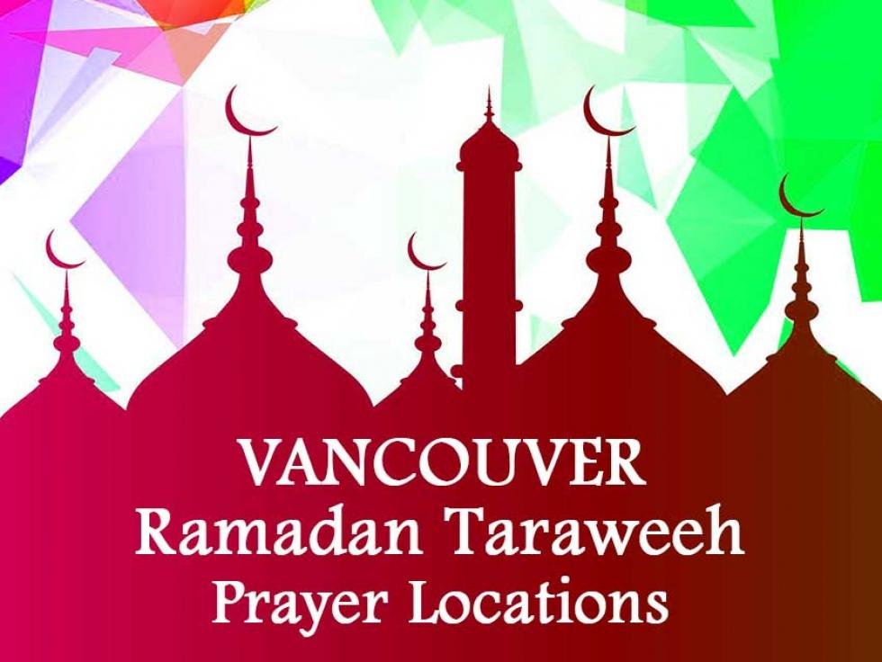 Metro Vancouver Ramadan Taraweeh prayer locations