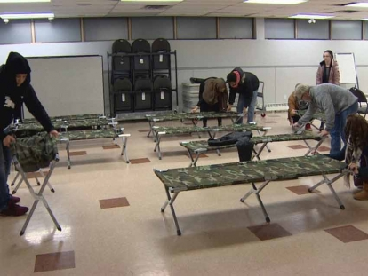 Mustard Seed volunteers setting up emergency shelter.