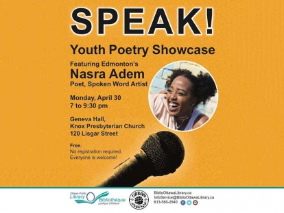 Nasra Adem, will be in Ottawa on Monday, April 30 at 7pm as part of the Youth Speak Ottawa showcase.