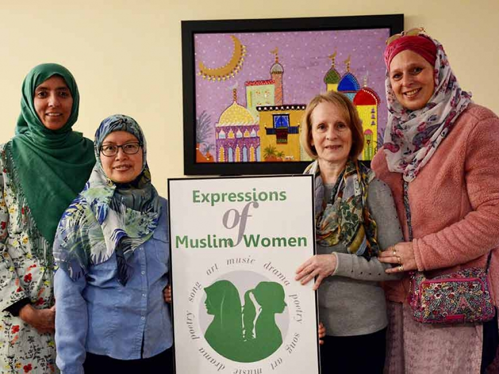 Some members of the Expression of Muslim Women team: Left to right, Rifat Hanif-Riaz, Audrey Saparno, Diane Dupuis, Leïla Sieg. Other members included Ubah Hersi, Stephanie Saunders, and Hadiya al Idrissi.
