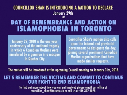Councillor Neethan Shan to introduce motion to declare January 29 as a Day of Remembrance and Action on Islamophobia