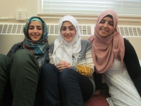 Ishraq, Afnan, and Amira Abusheikha at MAC Canadian Family Day in February.