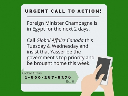 Canada's Foreign Minister François-Philippe Champagne Must Bring Yasser Albaz Back Home During Egypt Trip